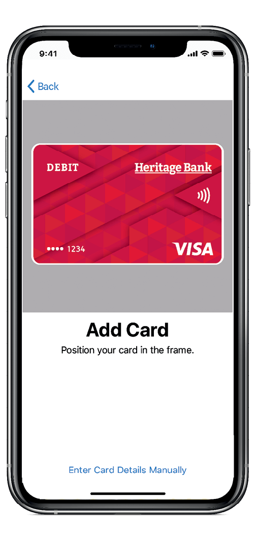 Heritage Bank Apple Pay Add Card