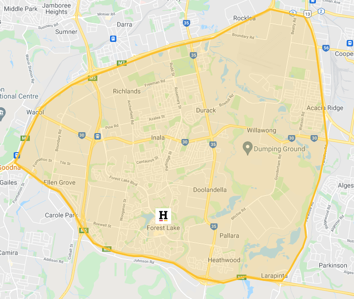 Map showing grant footprint for Heritage Bank Forest Lake Community Branch
