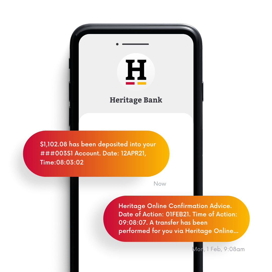Heritage Bank SMS and Email Alerts