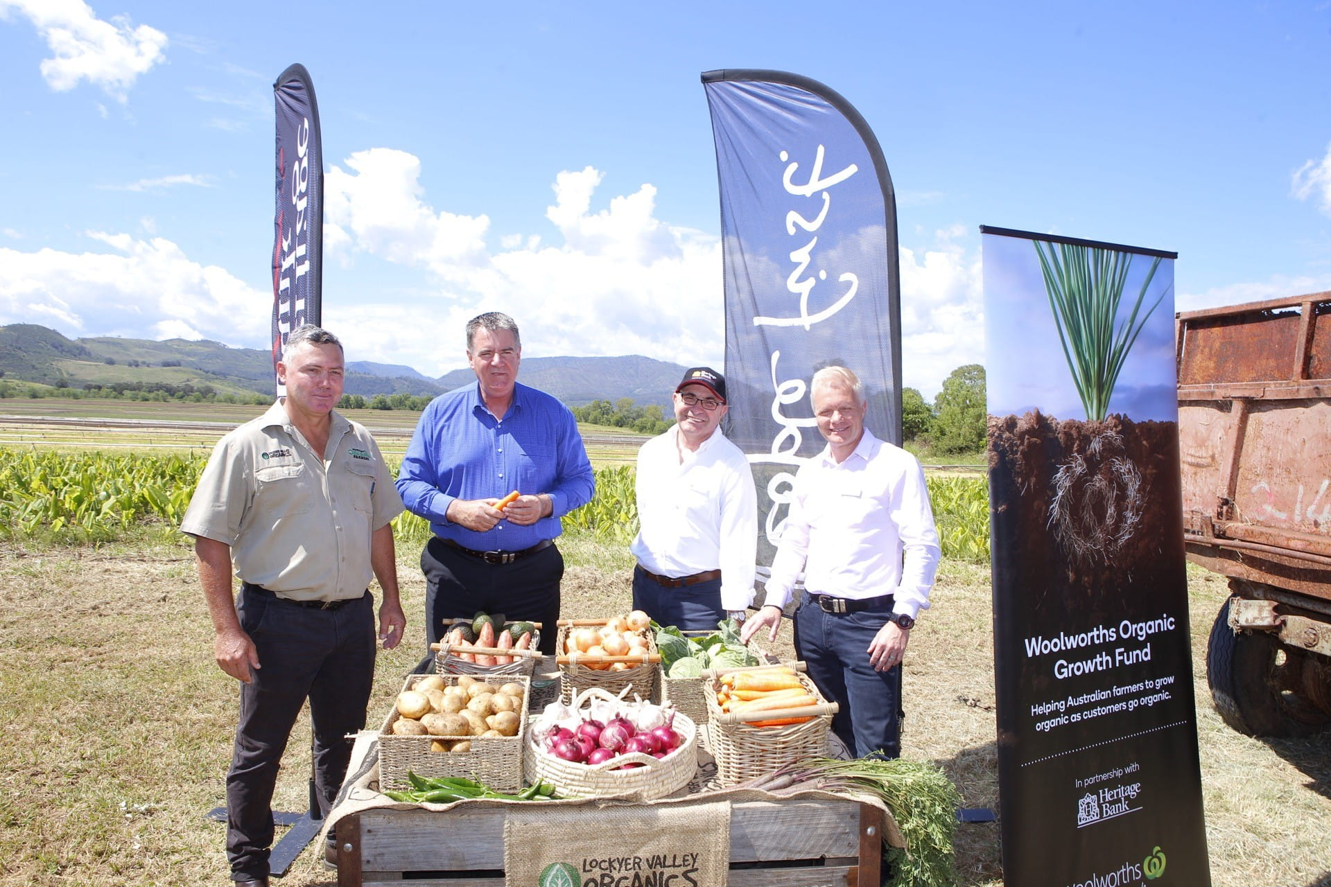 CAPTION: Launching the Woolworths Organic Growth Fund are (from left) Lockyer Valley Organics director Anthony Bauer, Queensland Minister for Agricultural Industry Development and Fisheries Mark Furner MP, Heritage Bank CEO Peter Lock and Woolworths Head of Produce Paul Turner.