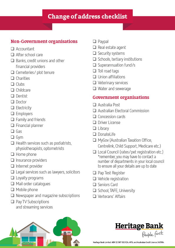 Moving House Change of Address checklist